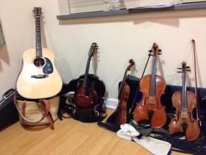 a little gathering of instruments...we can only play one at a time...